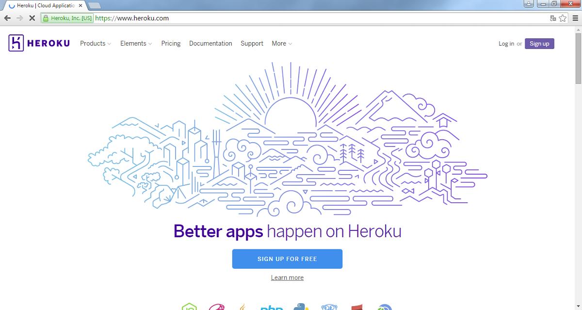 Página principal de Heroku