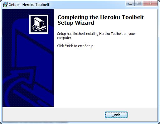Instalación terminada de Heroku Toolbelt