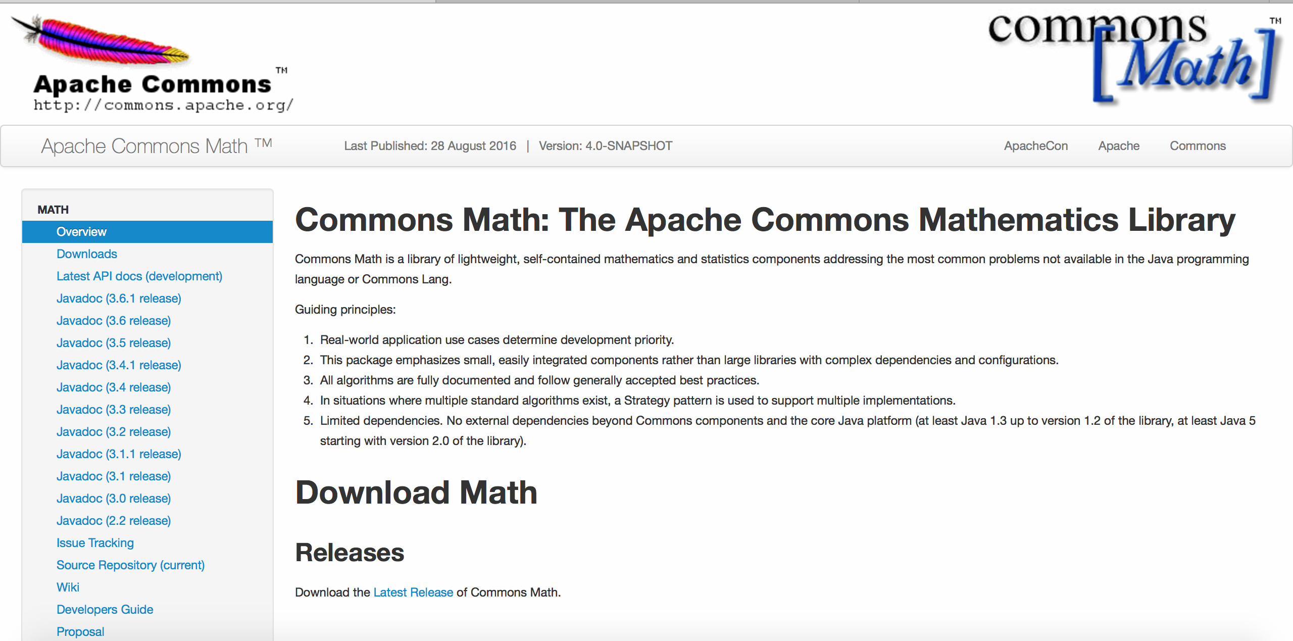 Página de Math Commons